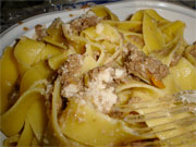 Traditional dish of Mugello - pappardelle with wild boar sauce